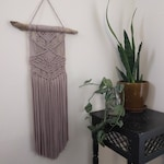 RESERVED: Macramé Wall Hanging with Dusty Rose Fabric on Driftwood