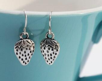 Silver Strawberry Earrings- Charm Earrings