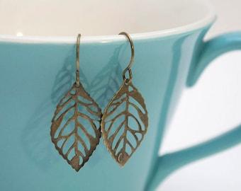 Petite Bronze Leaf Earrings- Small Antique Bronze Leaf