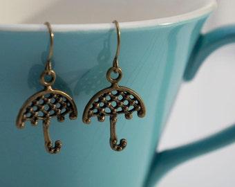 Bronze Umbrella Earrings- Small Antiqued Bronze Umbrella- Mary Poppins Earrings