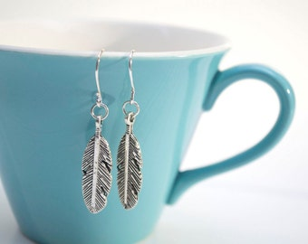 Antiqued Silver Feather Earrings- Charm Earrings