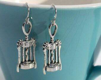 Corkscrew Wine Opener Silver Charm Earrings