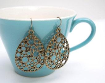 Antiqued Bronze Bubble Dot Earrings- Teardrop Earrings