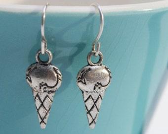 Silver Ice Cream Cone Earrings- Charm Earrings- Summer Earrings