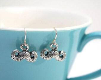 Silver Mustache Earrings- Charm Earrings- The Stache