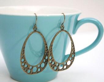 Bronze Mod Dot Earrings- Teardrop Earrings