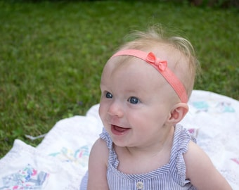 Elastic Tiny Bow Headband- Baby Girl- Toddler- Child- Choice of 22 Colors