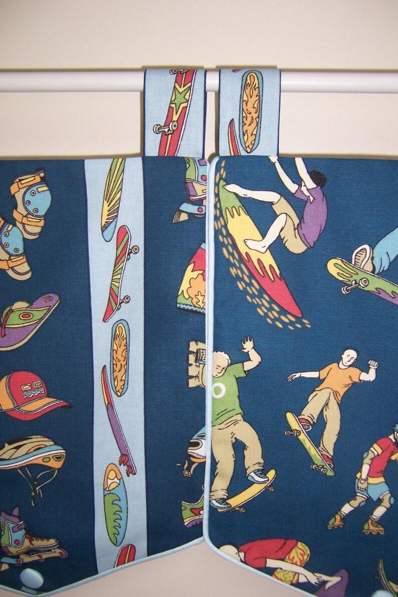 Boy/'s Blue Skateboard Surfer Window Valance Curtain