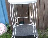 Vanity Stool White Metal Hollywood Regency Vintage seating
