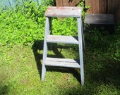 Wooden Step Ladder Weather folding plant stand shabby vintage wedding decor