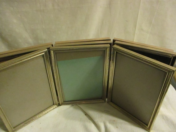 Tri Fold Gold Tone Picture Frames 5 X 7 Glass One Only