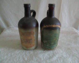 Little Brown Jug set of 2 repurposed