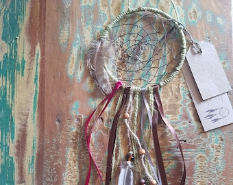 Dream Catcher made with hemp twine ribbon beads charms