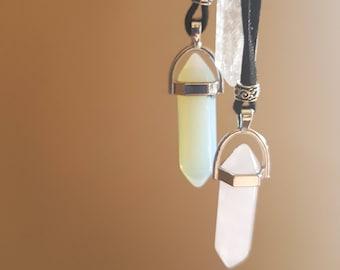Short Crystal Necklace on Black Leather 24cm