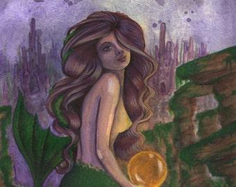 Fantasy Art Greeting Card - Golden Pearl