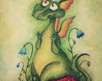 Fantasy Art Greeting Card - Oscar's Dragon