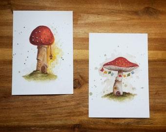 Set of 2 Toadstool Faery House Postcard Prints