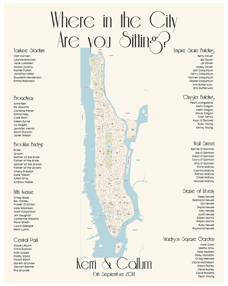 photo regarding Manhattan Map Printable titled Manhattan Map Seating Chart NYC Electronic Structure Printable PDF Tailor made Particular person Poster Print History Basically The place inside the Town