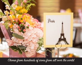 World Travel Table Number Wedding Reception Decor International Cities Landmarks Hundreds of Icons to Choose from