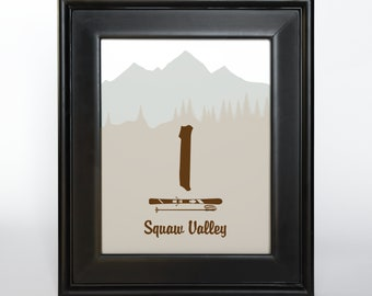 Ski Resort Mountain Printable Table Number Wedding Reception Decor Sign Cards 4x6 5x7 or 8x10 Choose Font, Colors, Titles or Numbers