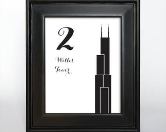 Printable Chicago Table Number Wedding Decor Reception Sign Cards Landmark Icons 4x6 5x7 or 8x10 Choose Font, Color and Landmarks