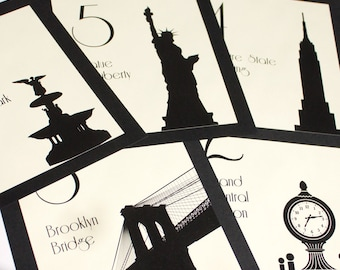 NYC Table Number New York City Wedding Decor Reception Sign Cards Landmark Icons Made to Order