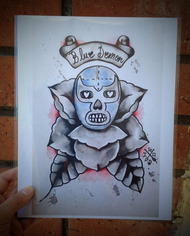 Calavera Tattoo Flash blue demon - flashart - tattoo flash - flash art - lucha libre - mexican  art - art print - dia de los muertos