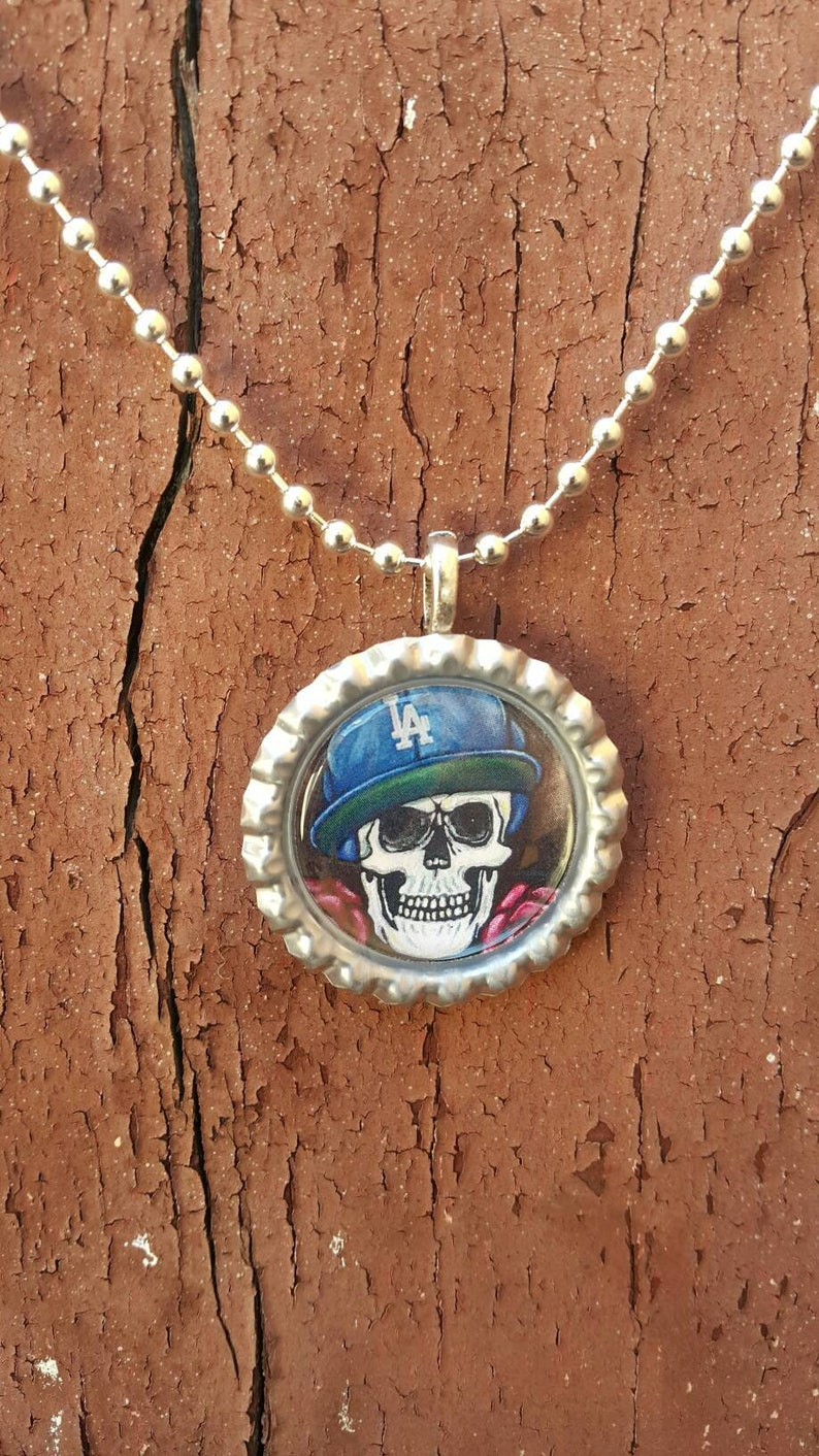 b575d56d24e Dodgers los angeles skull art calavera ball chain