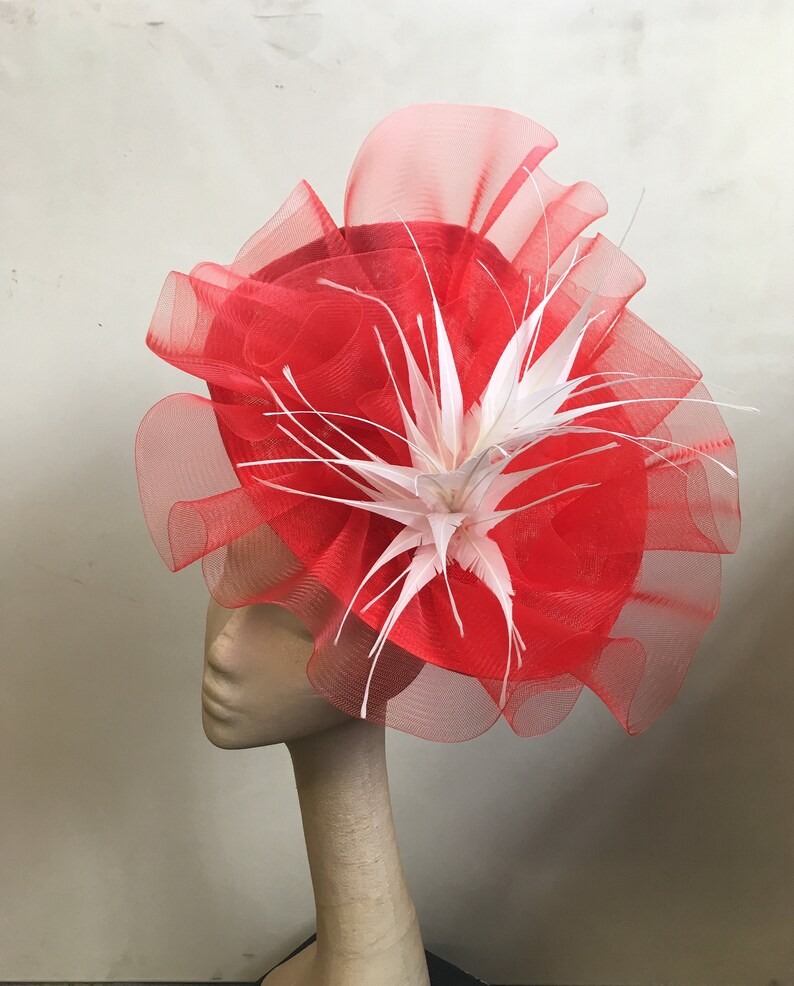 bright red crin fascinator headband headpiece wedding party piece race ascot