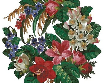 Bunch of roses, violets, lilies and hawthorn antique cross stitch pattern digital