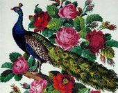 Peacock antique digital cross stitch pattern for Berlinwork