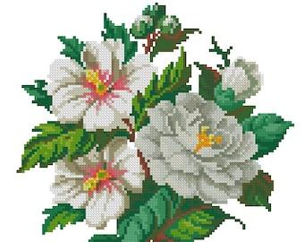 White magnolias vintage digital cross stitch pattern