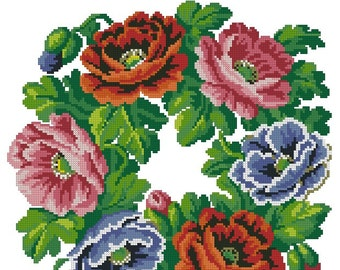 Poppies wreath vintage cross stitch pattern for Berlin wool work
