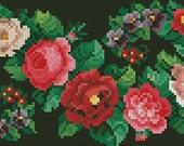 S-bunch of flowers vintage cross stitch digital pattern for Berlin wool work
