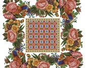 Pillow or carpet with roses vintage cross stitch digital pattern