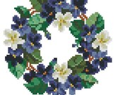 Violets wreath small vintage digital pattern for cross stitch, beadwork or Berlinwork