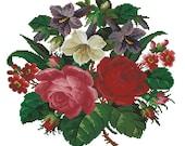 Roses and primulas vintage digital cross stitch or gobelin pattern