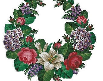 Open garland with roses, wistaria and forget-me-not cross stitch woolwork pattern