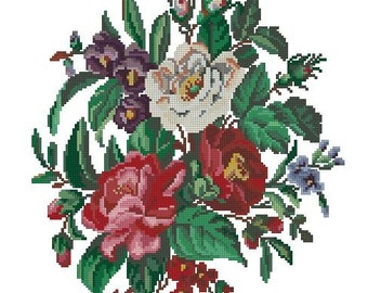 Roses bouquet antique pattern for Berlinwork or cross stitch