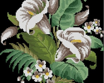 Lilies antique cross stitch and beadwork pattern