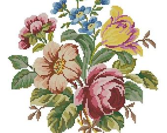 Flowers bouquet antique pattern for Berlinwork or cross stitch