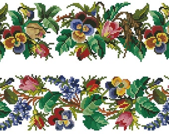 Roses, pansies and wistaria  borders antique digital cross stitch pattern