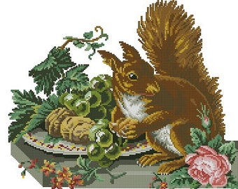 Squirrel with grapes antique digital cross stitch pattern for wool berlinwork