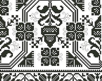 Monochrome border antique digital pattern for cross stitch or Berlinwork