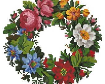 Bright flower wreath vintage cross stitch digital pattern for wool Berlinwork