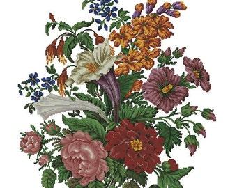 Flowers vintage cross stitch digital pattern for Berlin wool work