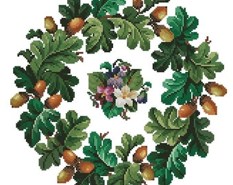 Acorns and oak leaves whreath  with small violets vintage cross stitch pattern for wool berlin work