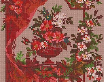 Flowers in a vase antique digital pattern for Berlinwork or cross stitch