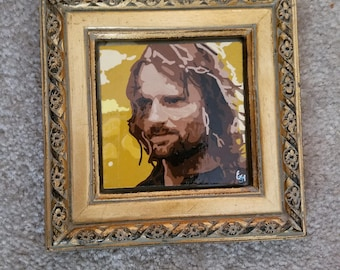 Impressionist Style Original Aragorn 3x3 Painting with Frame, Inspired by LOTR