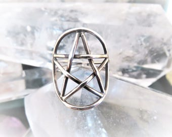 Sterling Silver Pentagram Ring, Hand Crafted, Ritual Jewelry, 1  Sterling Ring,  Star Ring, Size 8 1/8, and  8 1/4